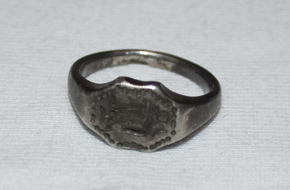 Antique Late Roman Early BYZANTINE - Medieval Silver Ring Christian Artifact
