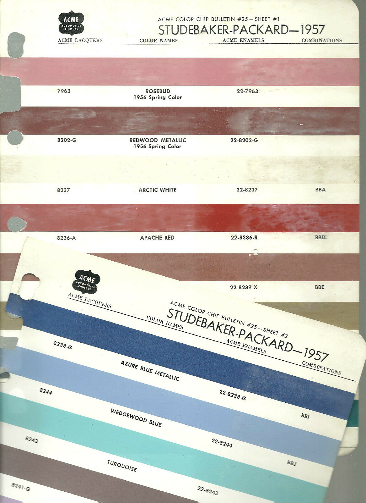 Vintage 1957 Studebaker Packard Color Chip Paint Sample Brochure Chevy Chart 1 Of 1only Available