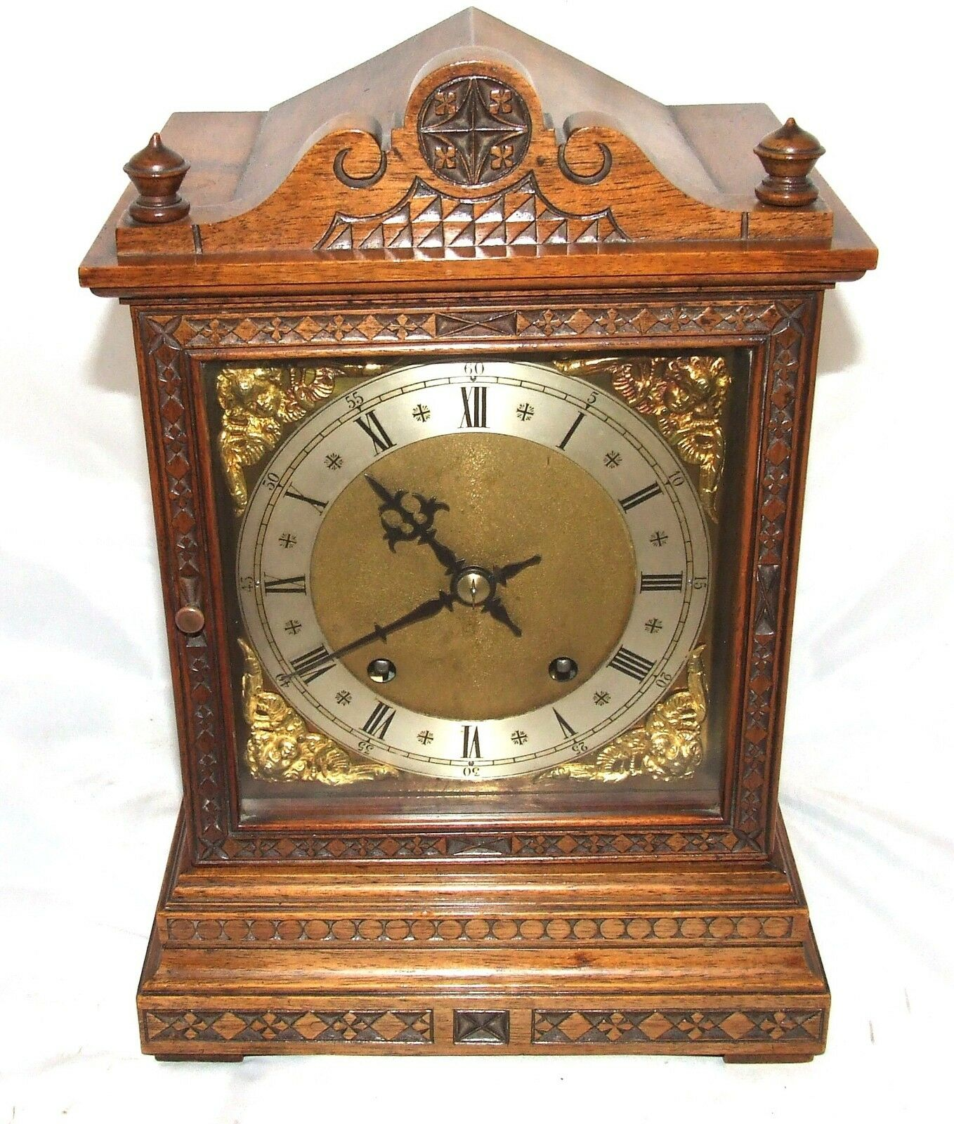 Antique Carved Oak Winterhalder & Hoffmeier W & H Bracket Mantel Clock
