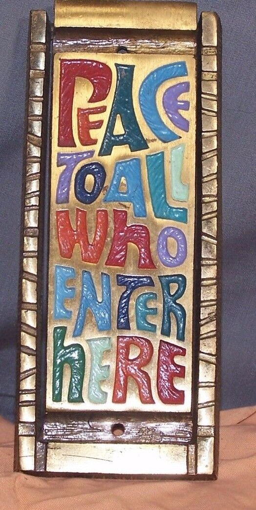 60's Psychedelic Brass Doorknocker Peace To All Who Enter Here-Israel
