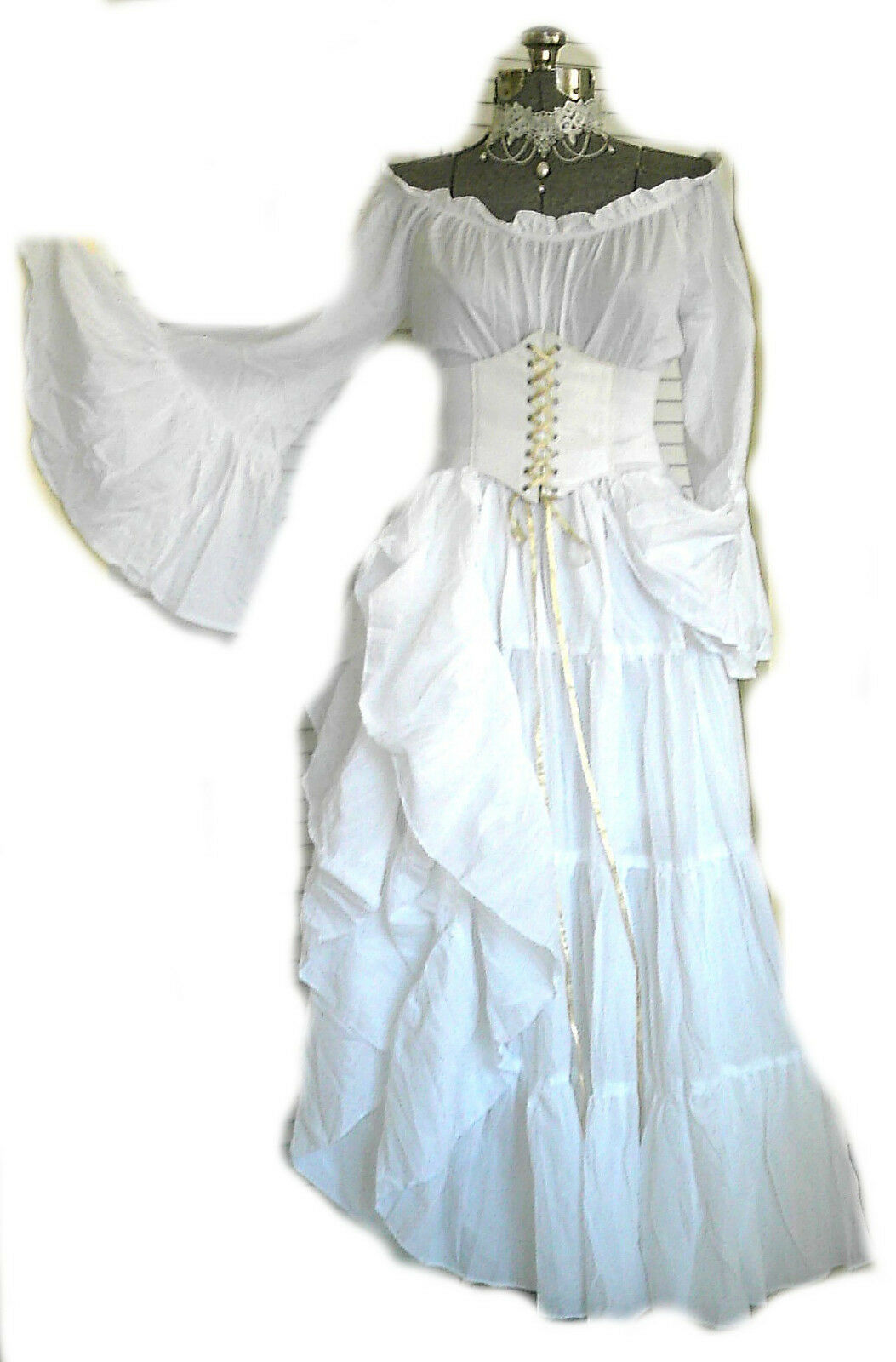 RENAISSANCE COSTUME WEDDING Gown Dress White Corset Chemise Pirate ...