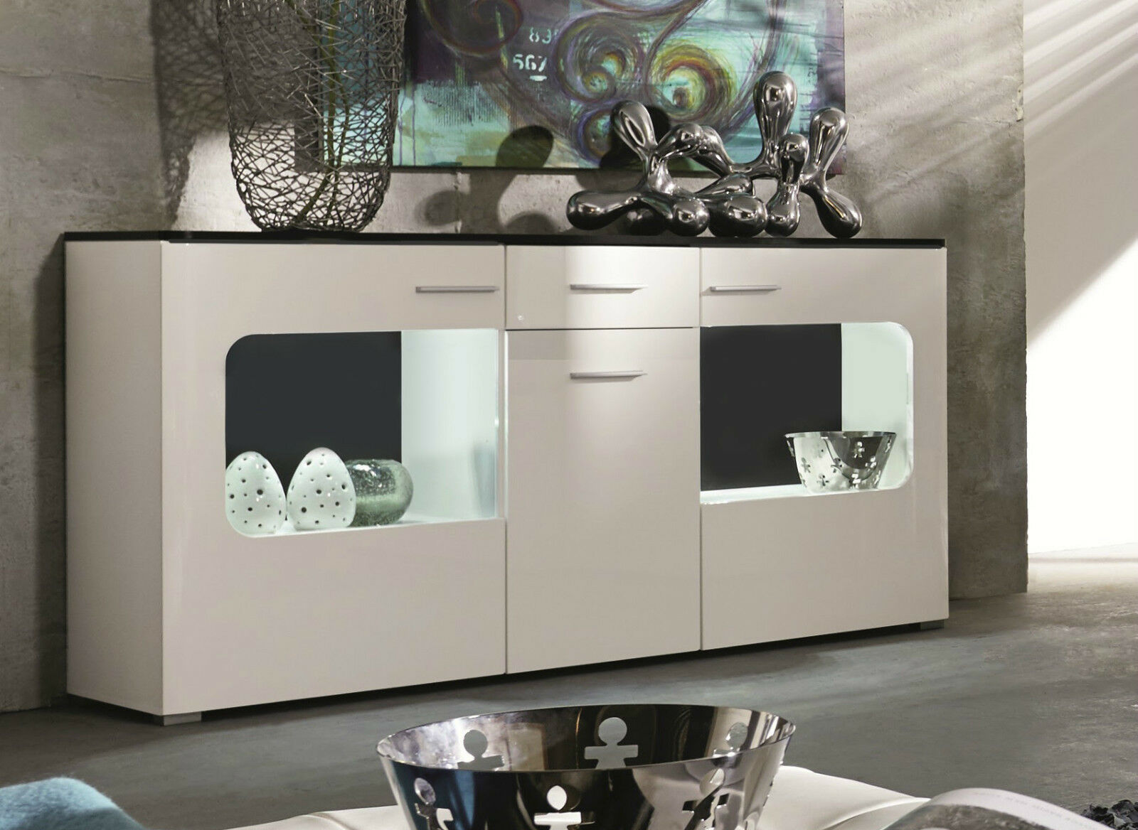 kommode sideboard hochglanz weiss anrichte design m bel schrank inkl led lucky eur 336 99. Black Bedroom Furniture Sets. Home Design Ideas