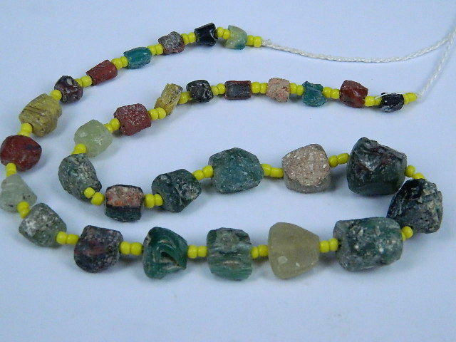 Ancient Fragment Glass Beads Strand Roman 200 BC  #BE1297