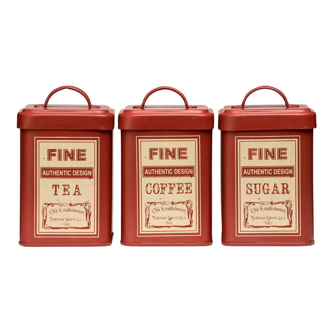Set Of 3 Red Tea Coffee Sugar Tin Canister Set Enamel