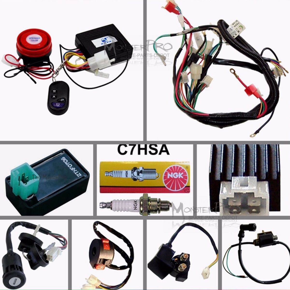 50 70 110 125cc Wiring Harness Loom Atv Quad Bike Electric Start 50cc For 1 Of 12 See More