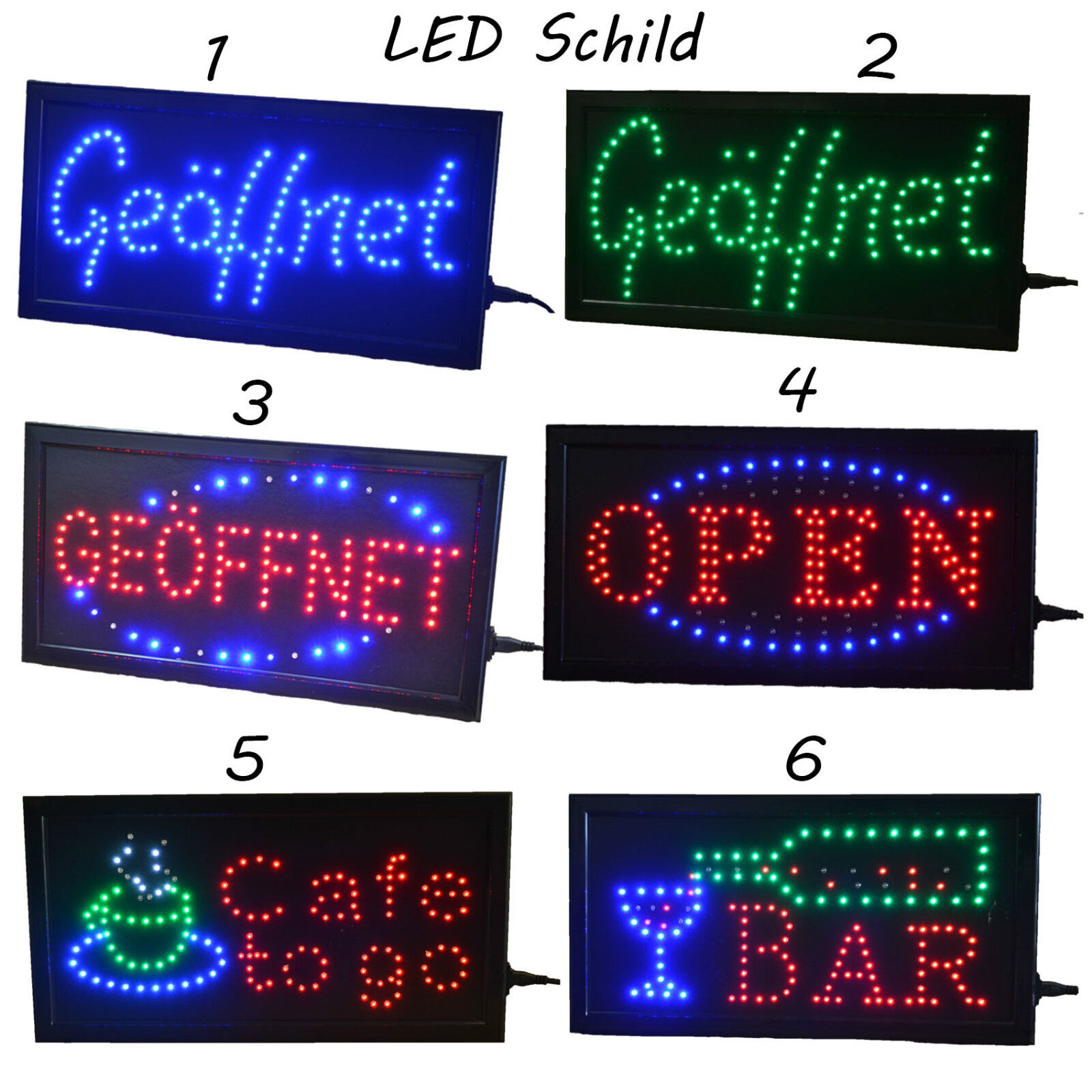 led open ge ffnet schild leuchtschild xxl reklame leuchtreklame werbung display eur 23 95. Black Bedroom Furniture Sets. Home Design Ideas