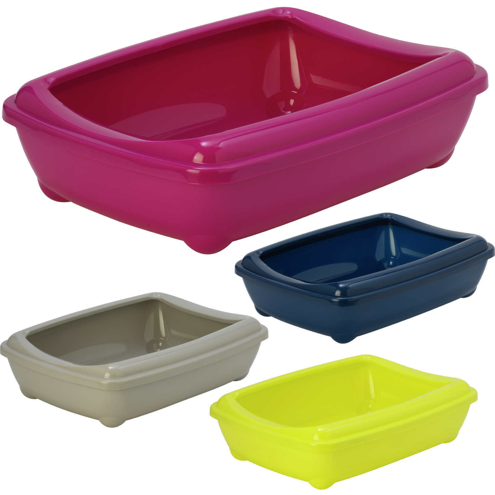 Cat Jumbo Litter Tray With Rim 57x43x16cm 6 Colours Quality Box Pan Toilet Loo