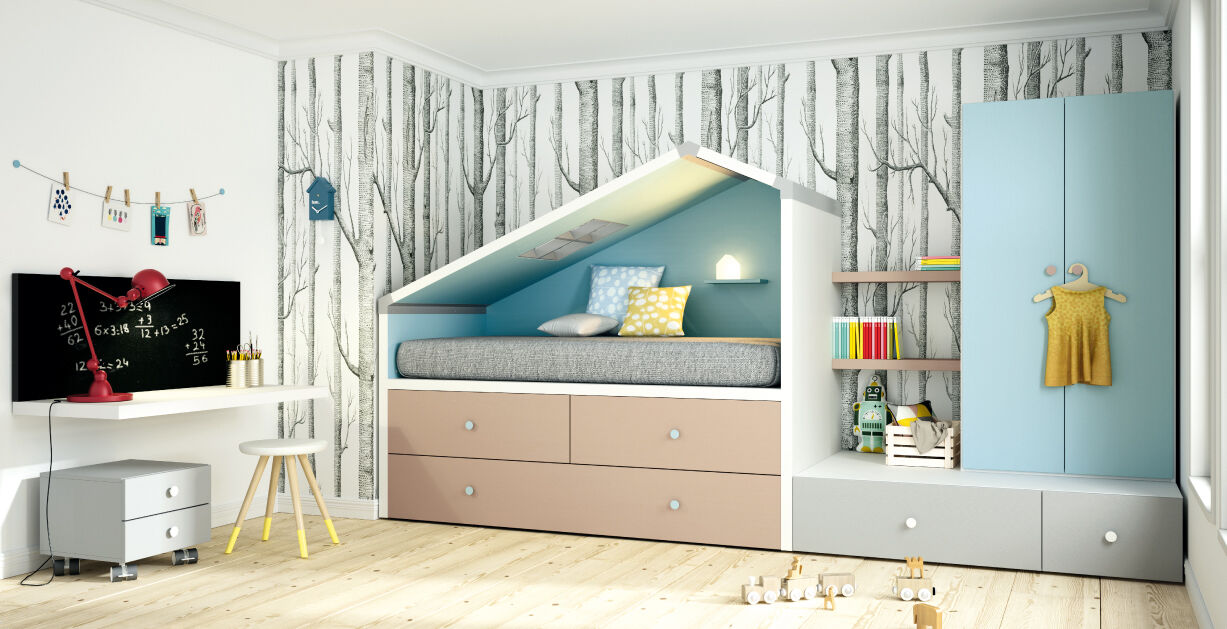 kinderzimmer fresh 21 design hochbett mit dachschr ge kleiderschrank uvm eur. Black Bedroom Furniture Sets. Home Design Ideas