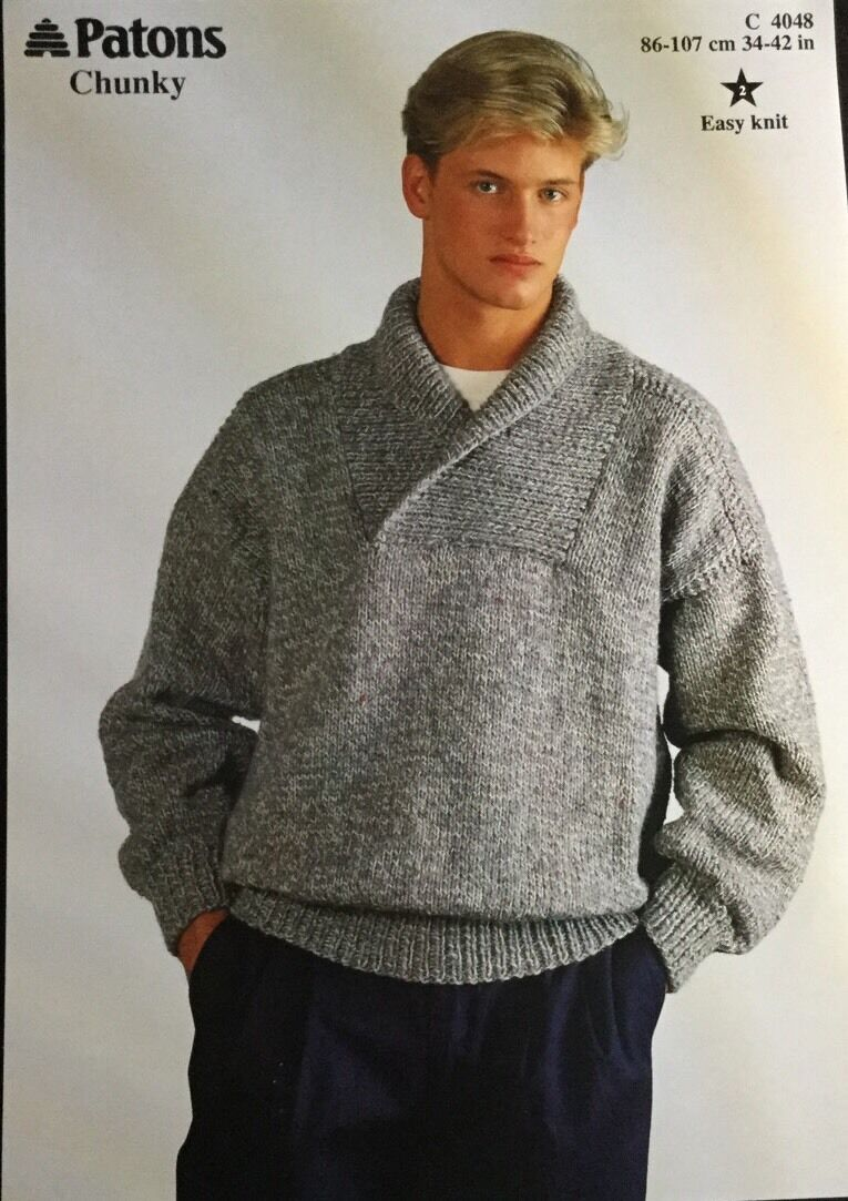 PATONS CHUNKY KNITTING Pattern Mens Sweater Jumper Size Size 34/ 42 ...