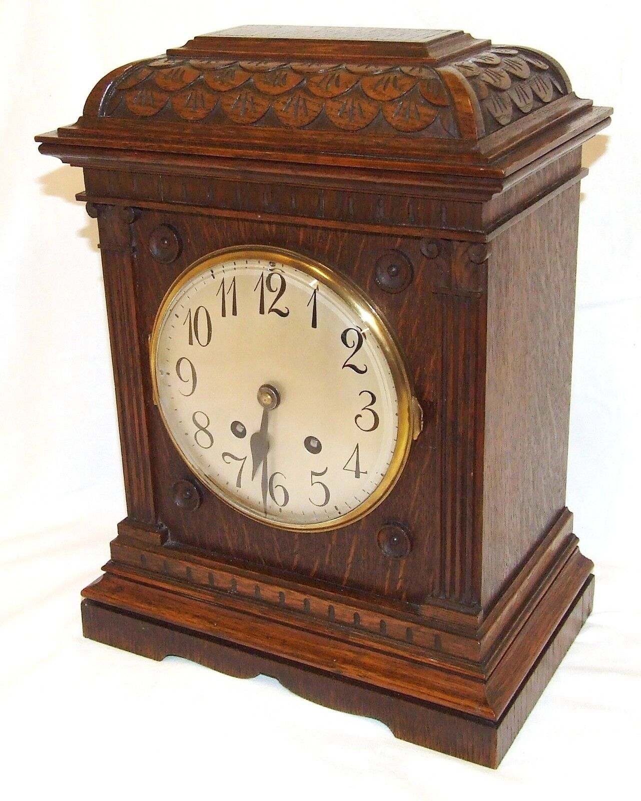 Antique LENZKIRCH Carved Oak Bracket Clock : CLEANED AND SERVICED