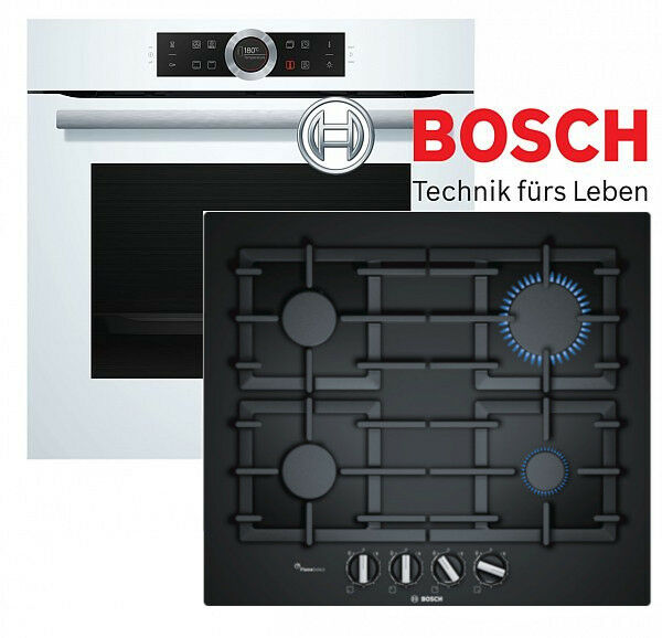 bosch schwarz wei herd einbau herdset elektro backofen gas glaskeramik kochfeld eur 830 00. Black Bedroom Furniture Sets. Home Design Ideas