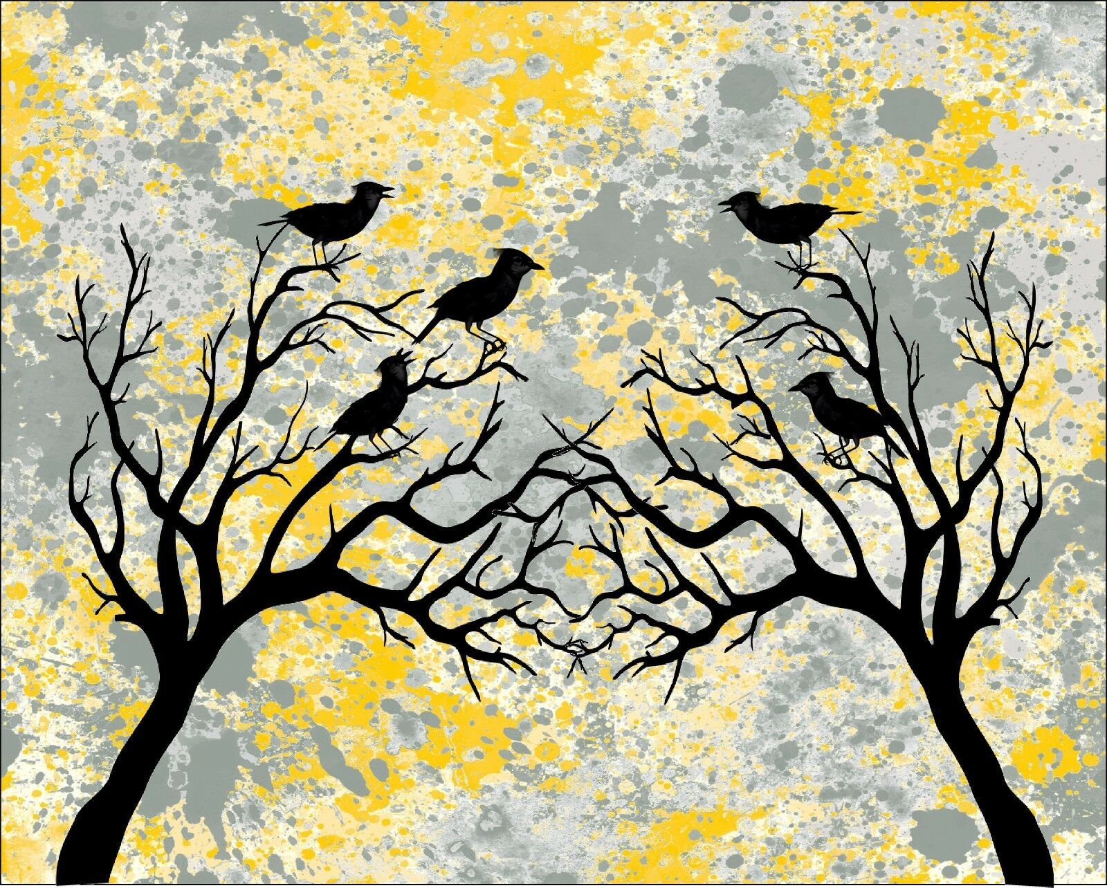 YELLOW BLACK & Gray Home Decor Birds Wall Art Photo Print Matted ...