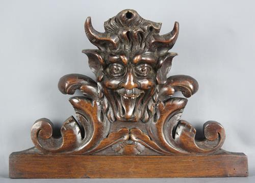 Antique French Carved Wood  Architectural Figure salvaged Pediment