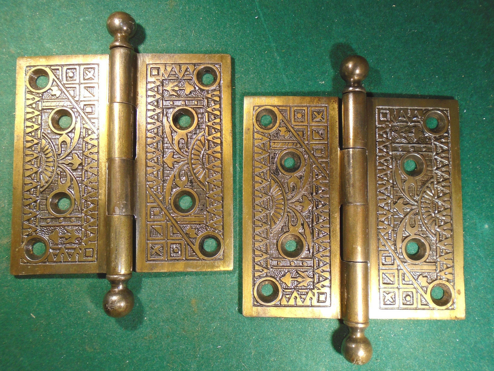 Pair Vintage Eastlake Hinges  4.5  X 4.5 Cannon Ball Tips - Beautiful  (5674)