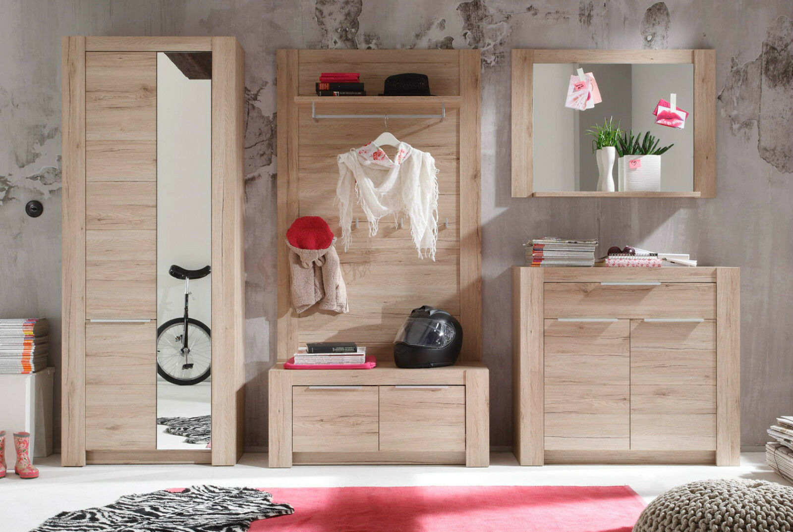 garderobenset flurgarderobe komplett set eiche 5 tlg schrank kommode bank cougar eur 567 99. Black Bedroom Furniture Sets. Home Design Ideas