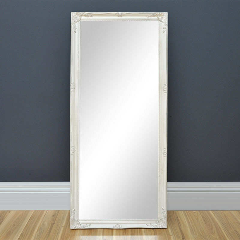 Large framed mirror antique white provincial mirror for White framed mirror