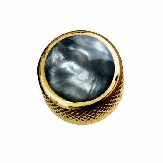 New Q Parts Dome Knob Acrylic Black Pearl On Gold