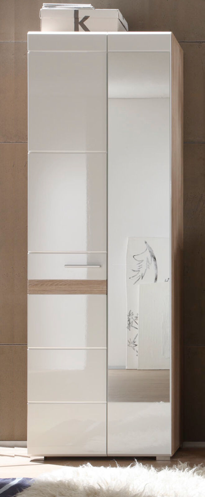 garderobenschrank flurgarderobe schrank wei hochglanz eiche mit spiegel setone eur 219 99. Black Bedroom Furniture Sets. Home Design Ideas