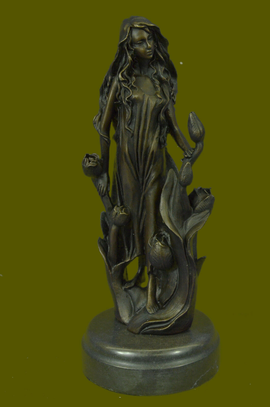 signed mavchi bronze statue art nouveau deco flower girl. Black Bedroom Furniture Sets. Home Design Ideas