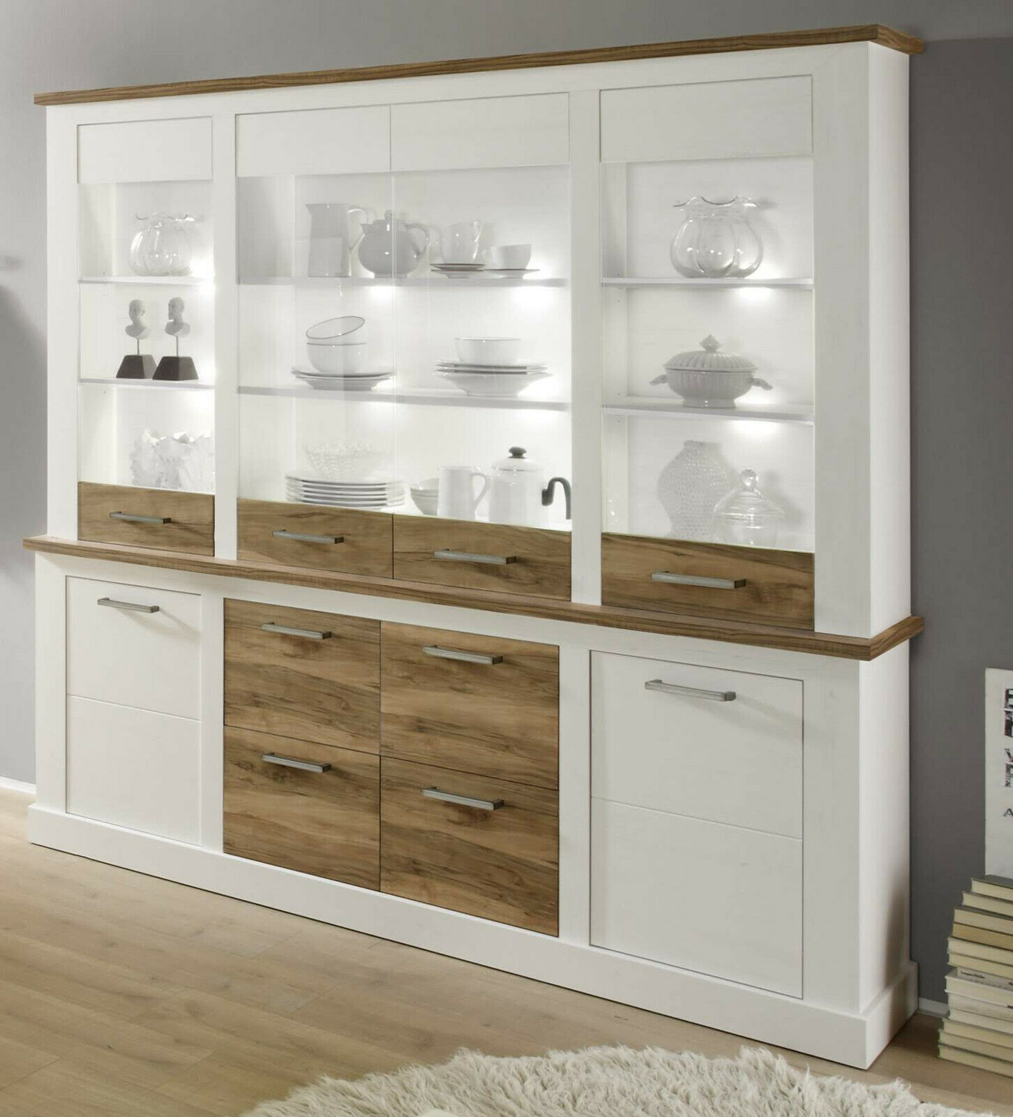 buffet schrank weiss pinie nussbaum anrichte landhaus highboard k che toronto eur 674 99. Black Bedroom Furniture Sets. Home Design Ideas