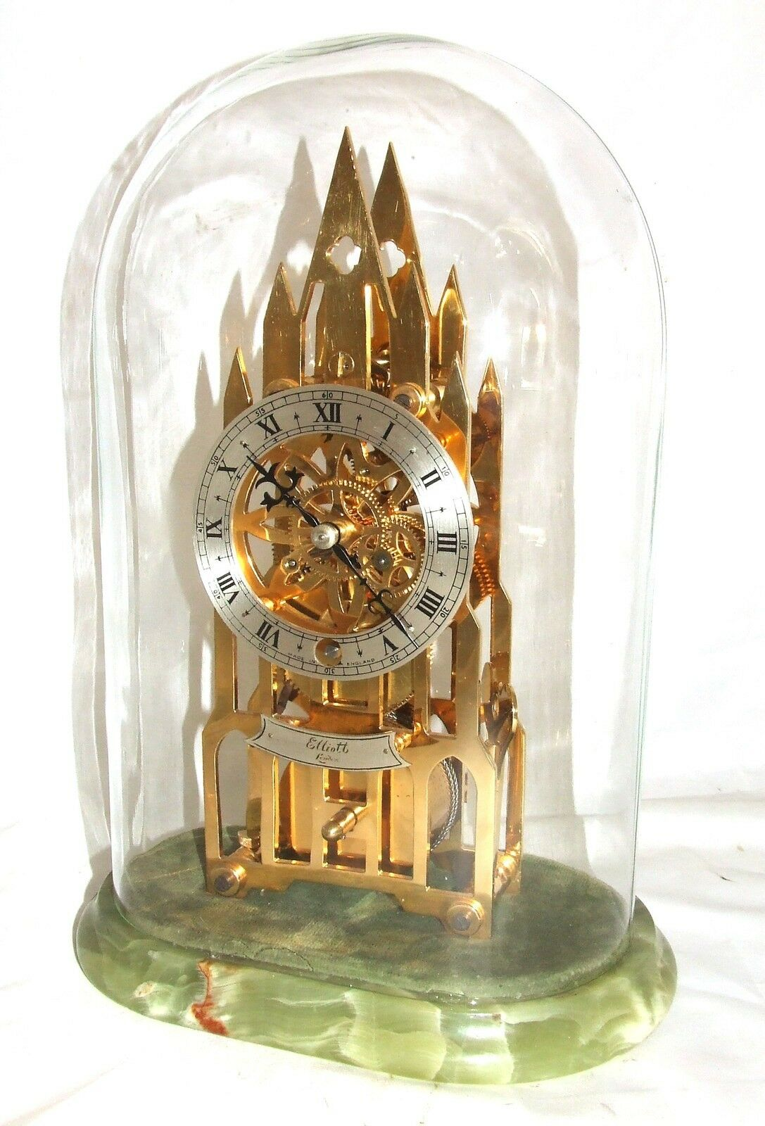 F.W. Elliott  LONDON Gold Plated Cathedral Skeleton Clock : SERVICED & WORKING