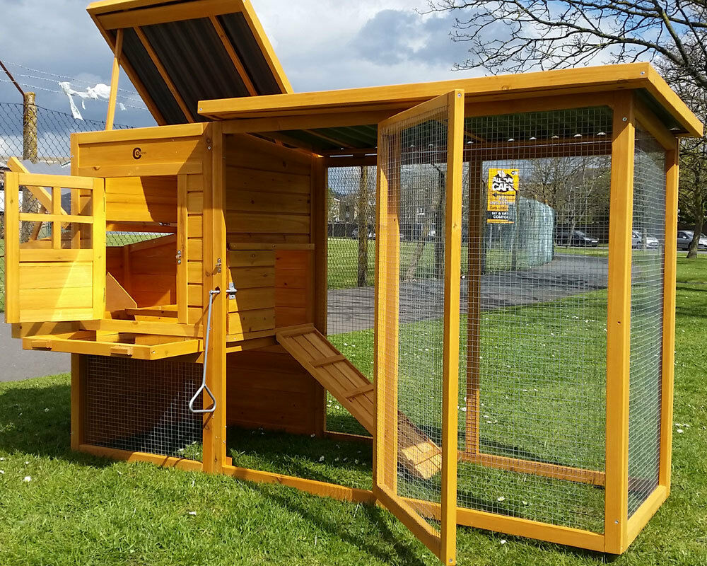 Eco chicken coop run hen house poultry ark home nest box for Maintenance free chicken coop