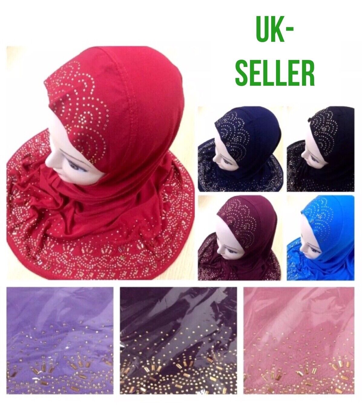 Muslim Kids Girls Hijab Islamic Glass Work New Design Hijab Scarf Uk Seller P&p