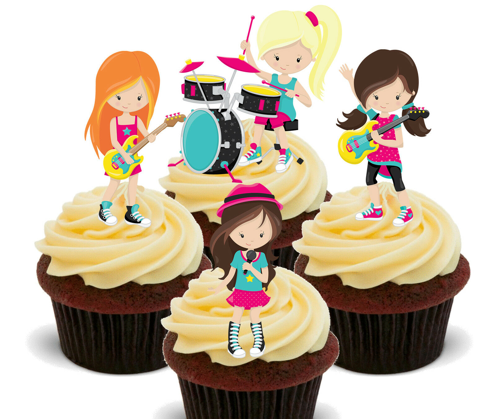 GIRL ROCK BAND Edible Cupcake Toppers, Stand-up Fairy Cake ...