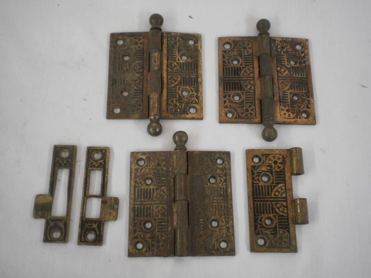 "Antique Ornate Eastlake Style 4x4"" Ball Top Hinges & Escutcheons"