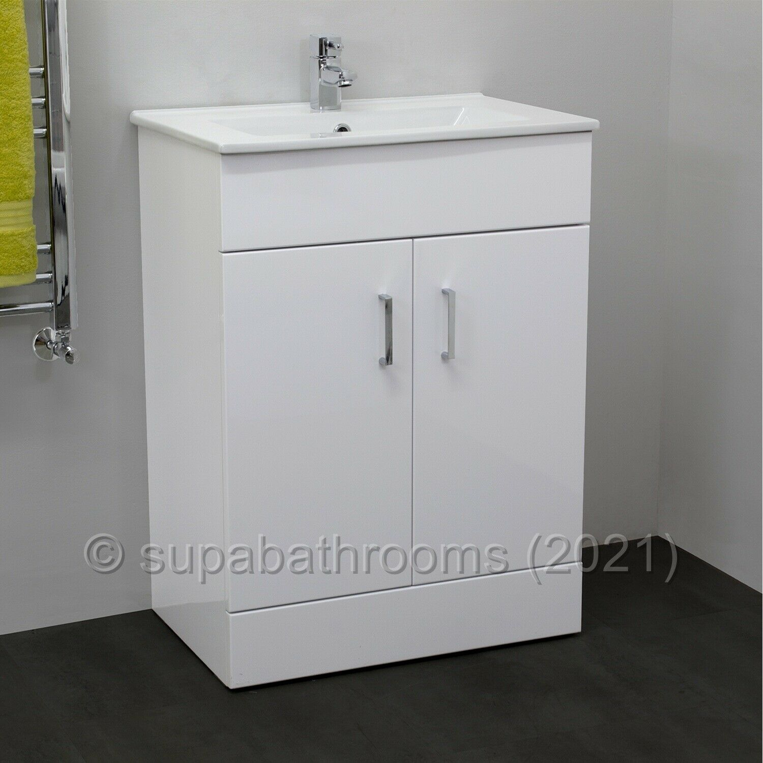 Bathroom 600mm Turin Vanity Unit Ceramic Basin Sink