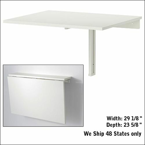 Dinning Folded Folding Down Desk Wall Mounted Drop Leaf Small Table Ikea White