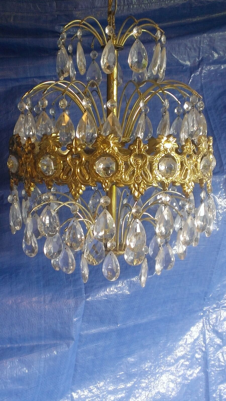 Vintage Chandelier Hollywood Regency / Neoclassical Style 6 Light w/ Crystals