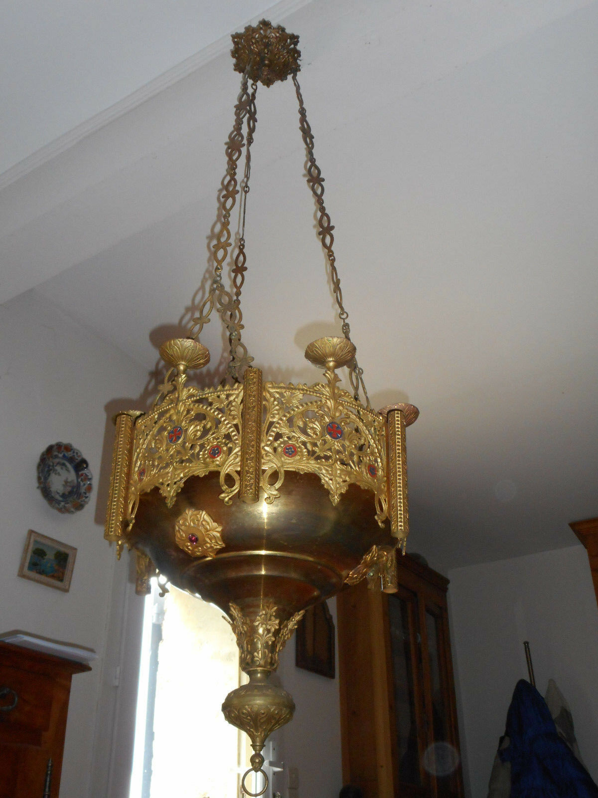 Antique French Gothic Bronze Gilt Sanctuary Lamp Chandelier Lantern. h:55 inches