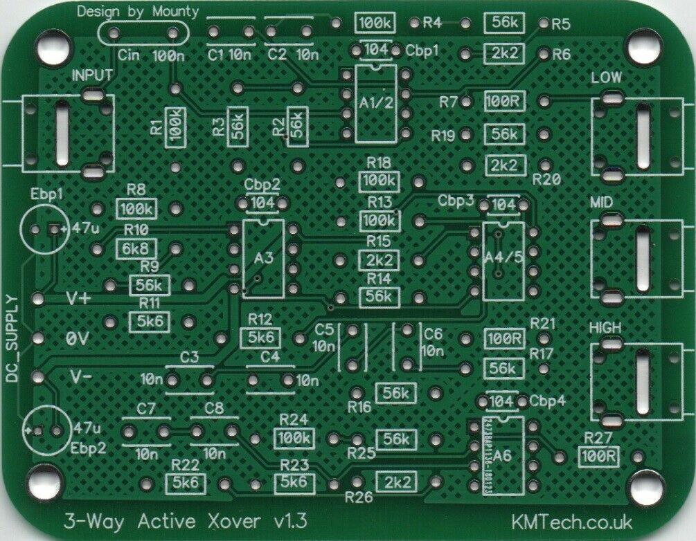 Line Level Active 3 Way Crossover Filter Ne5532 Opa2134 Pcb Only Diy 2 Circuit 1 De Ver Ms
