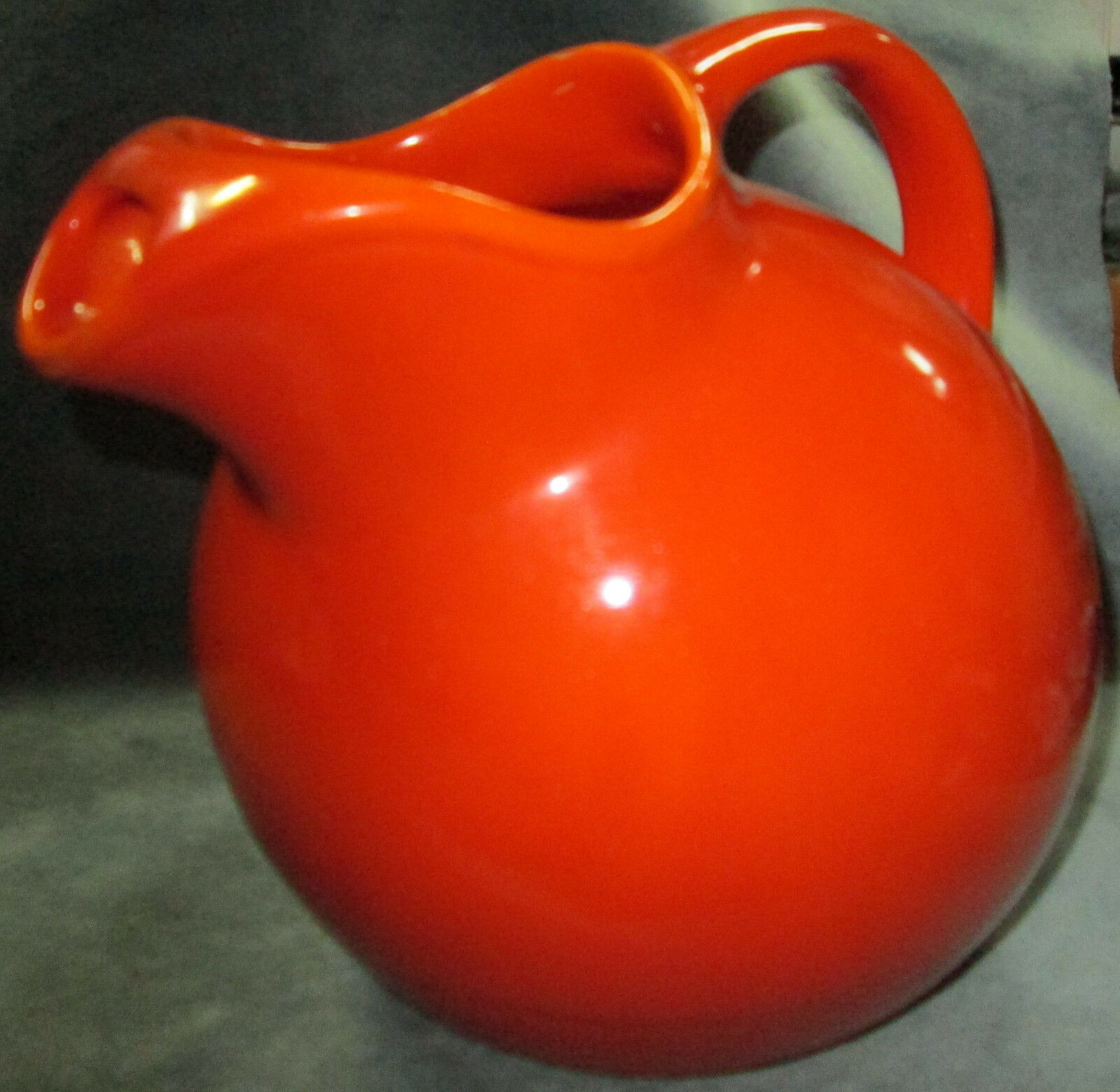 Heavy Large Unmarked Early Fiesta Uranium Orange Ball Pitcher With Ice Lip