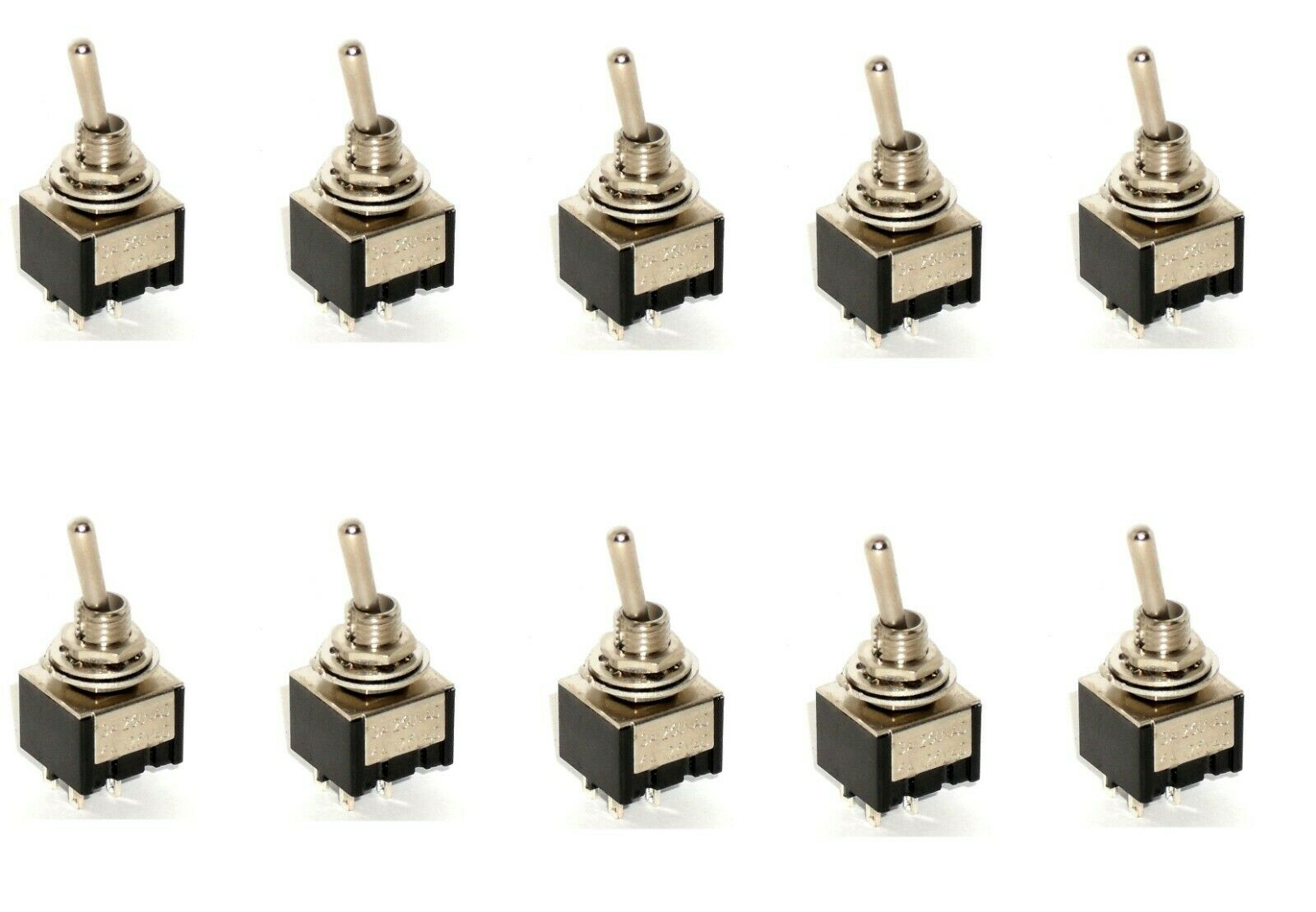 10 Dpst On Off Miniature Toggle Switches Two Pole Single Throw Commercial Switch
