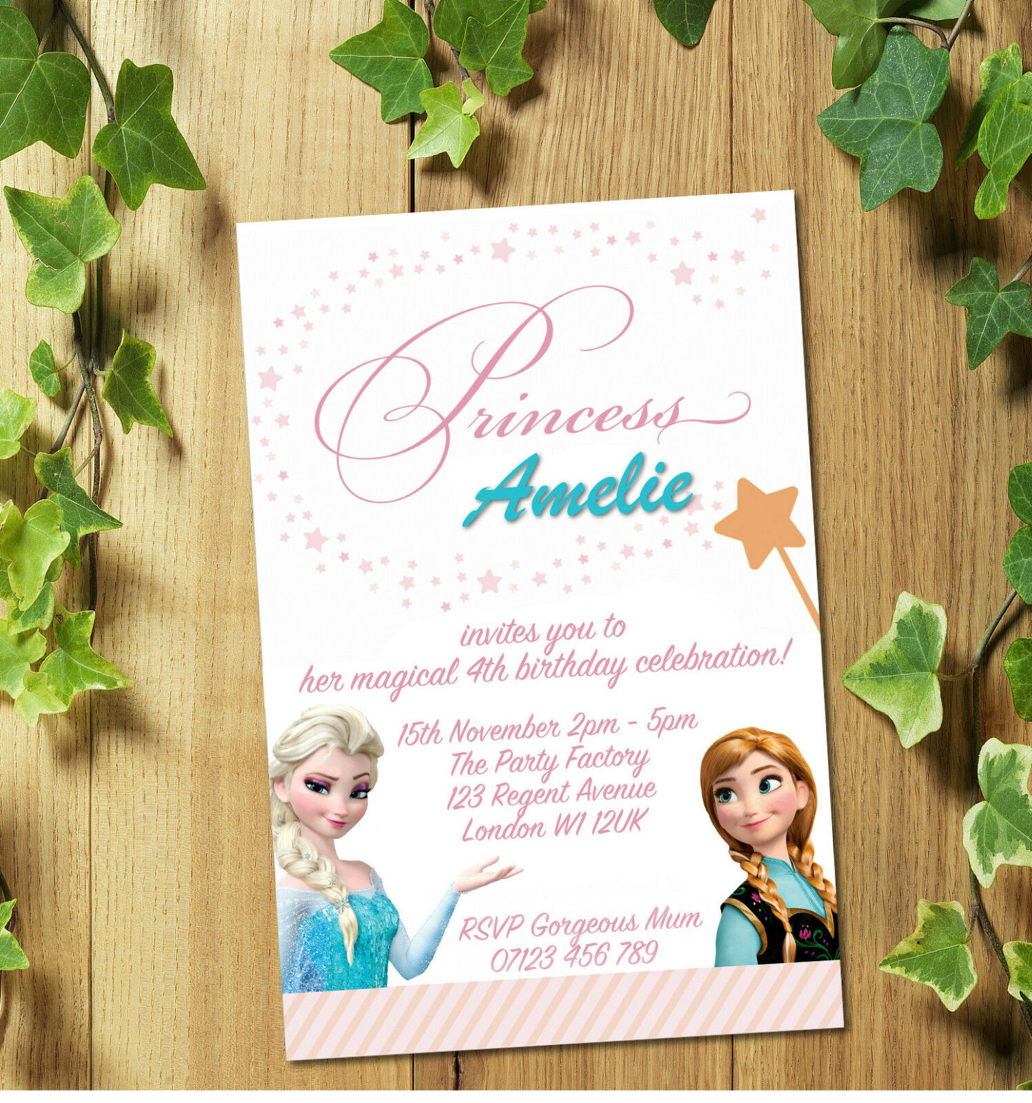 FROZEN ELSA & Anna Personalised Birthday Party Invites Invitations+ ...