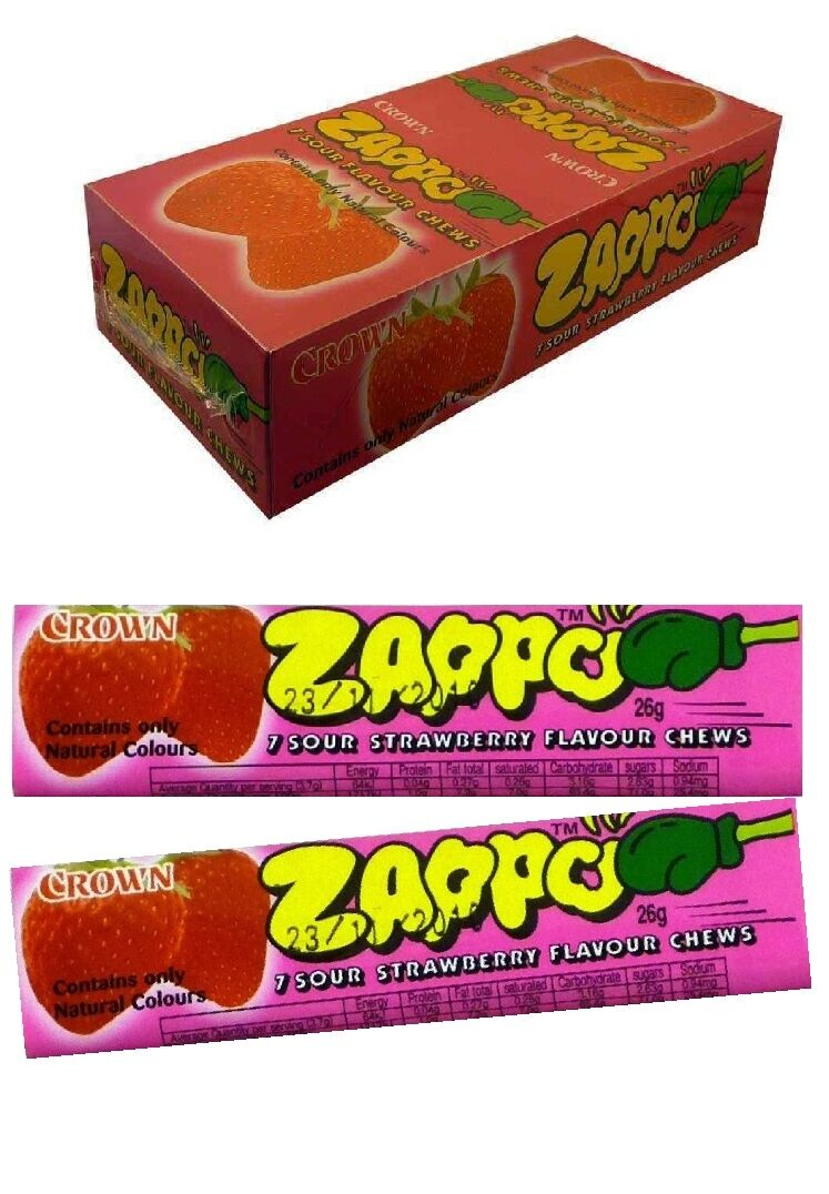 60 x ZAPPO CHEWS STRAWBERRY Bulk Sweets Party Favours Candy Wrapped Lollies
