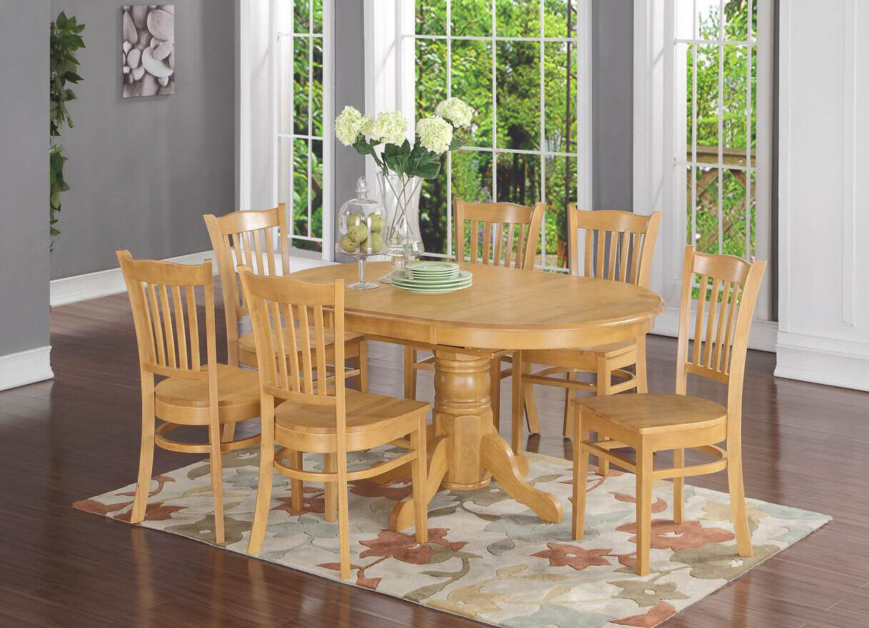 7 Piece Formal Dining Room Set  Oval Dinette Table With Leaf And 6 Dining  Chairs 1 Of 1FREE Shipping See More