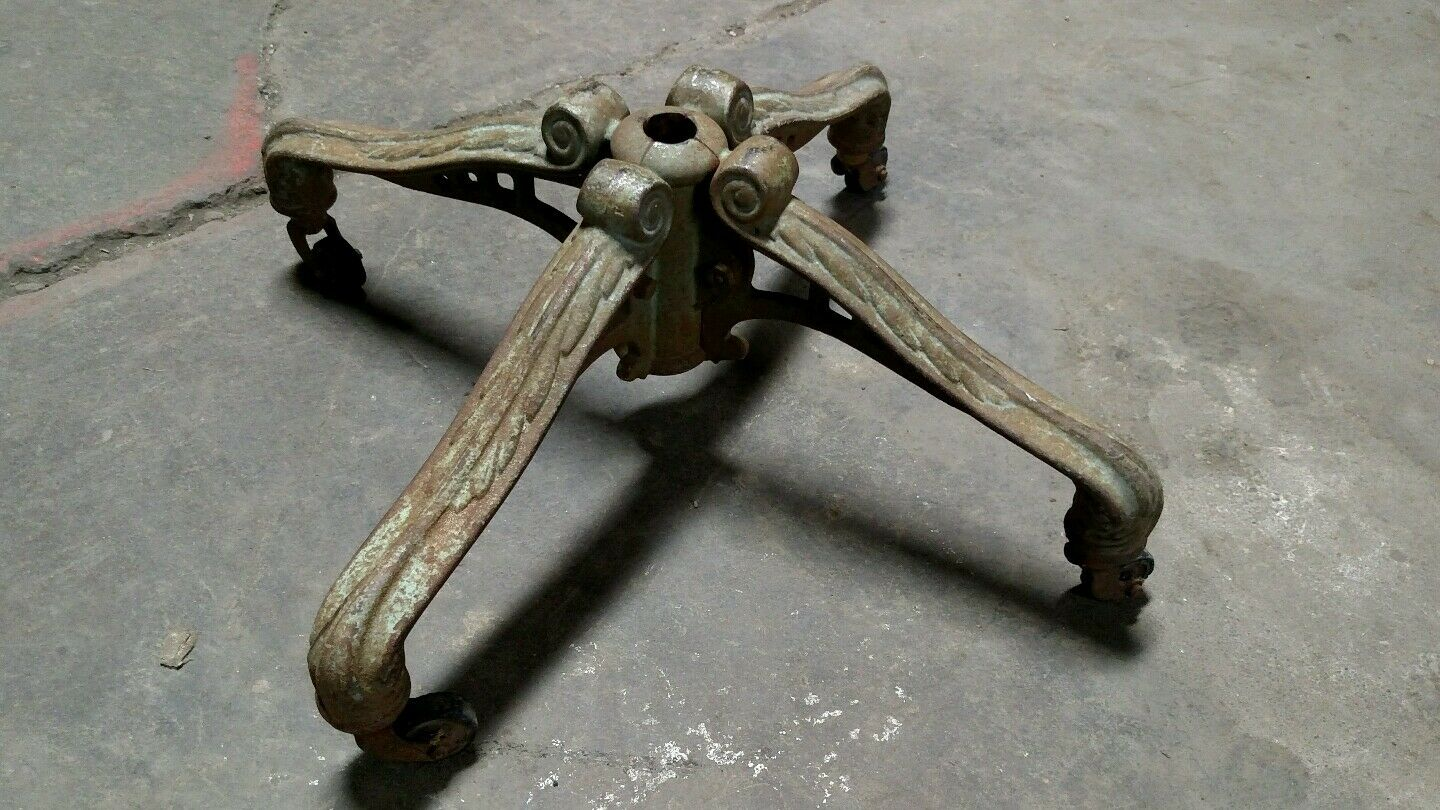 Reclaimed Vintage Industrial Ornate Cast Iron Light Base on Wheels. Steampunk!