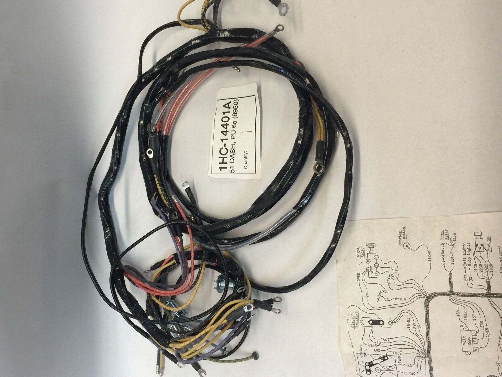 Ford F100 6 Cylinder Wiring Harness Electrical Diagrams 1964 Falcon 1951 Pick Up Truck Dash As Original