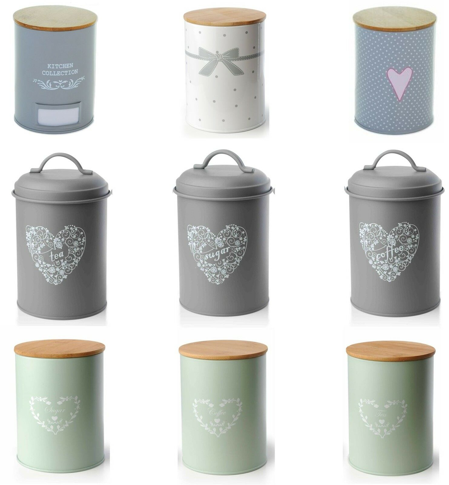 Retro Kitchen Canisters Set Of 3 Vintage Shabby Chic Tea Coffee Sugar Kitchen