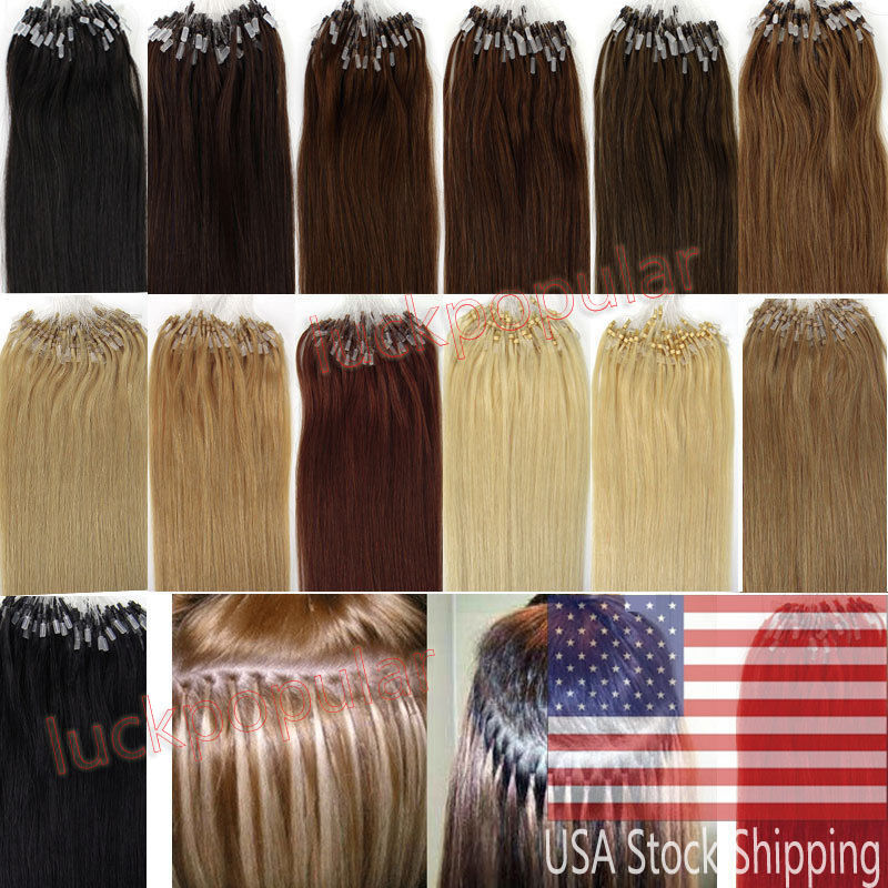 20 100s 200s Remy Human Hair Extensions Easy Loop Micro Ring Bead
