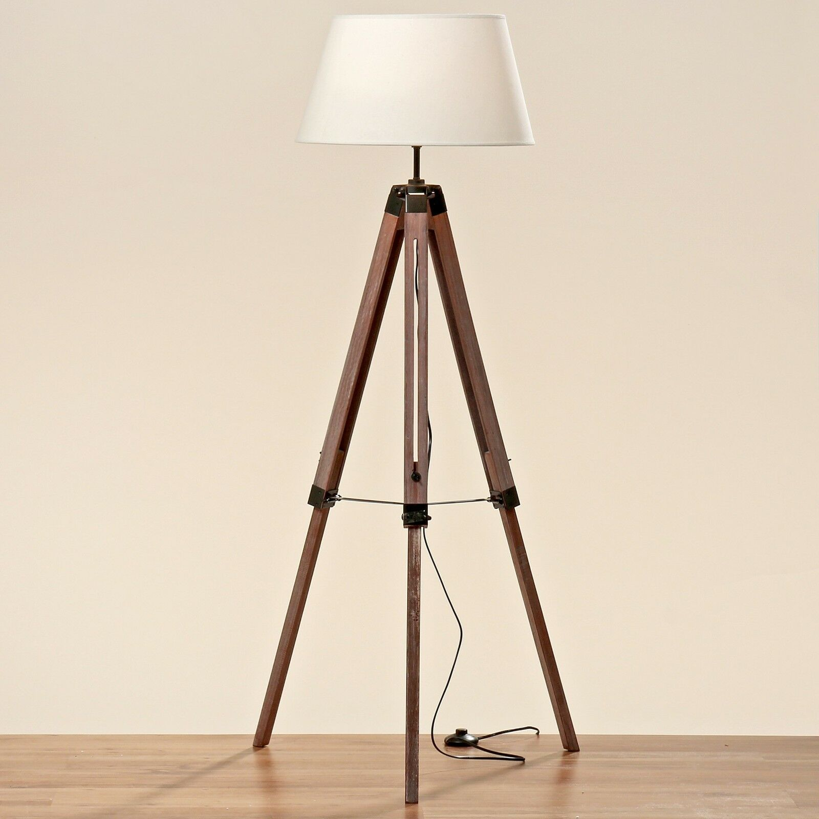 teleskoplampe tripod holz schirm stativ stehlampe lampe teleskop stativlampe eur 95 90. Black Bedroom Furniture Sets. Home Design Ideas