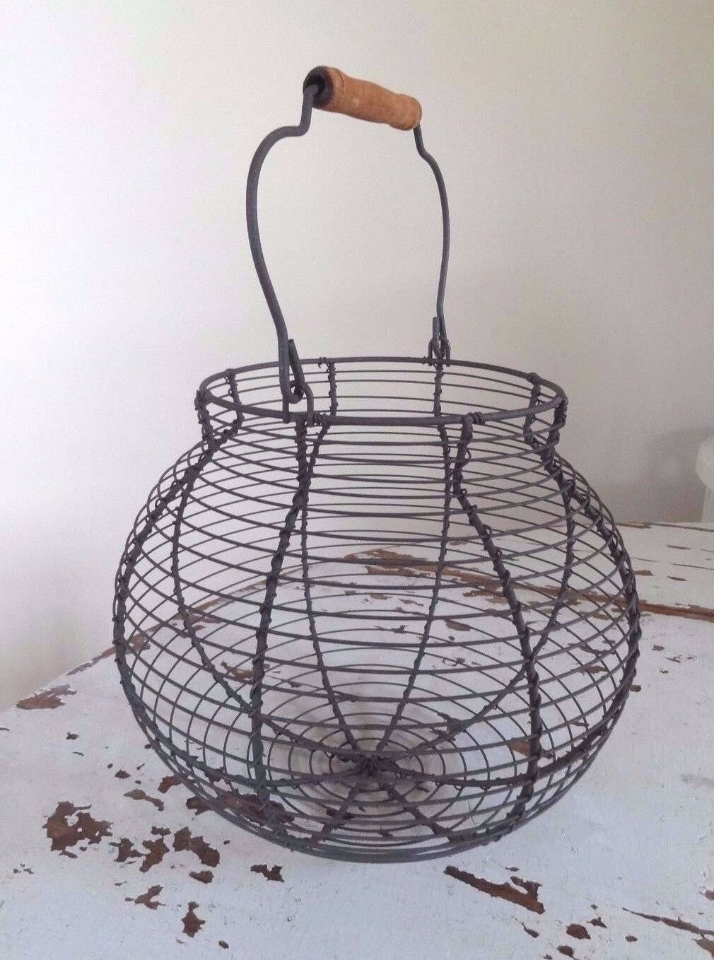 Vintage Style Round Wire Basket, Eggs, Veg, Fruit, Rustic Country ...