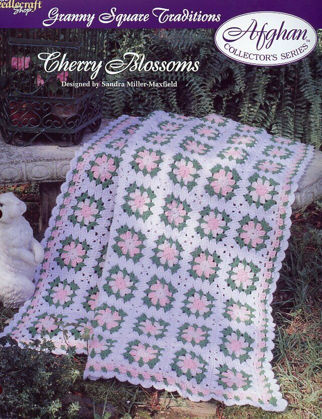 Cherry Blossoms Afghan Granny Square Tns Crochet Patterninstructions 167