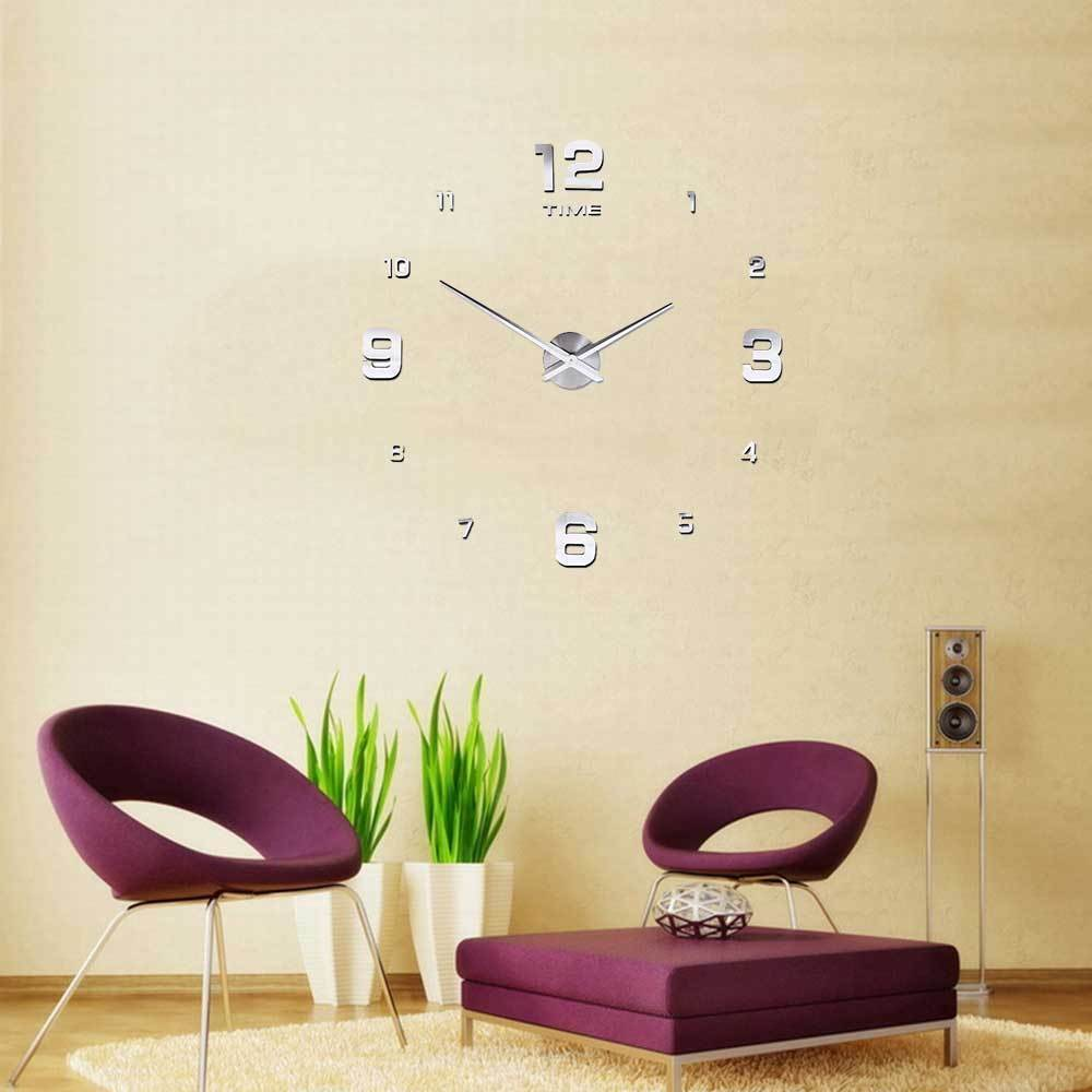 diy 3d horloge murale moderne design miroir pr decor maison salon chambre argent eur 16 99. Black Bedroom Furniture Sets. Home Design Ideas