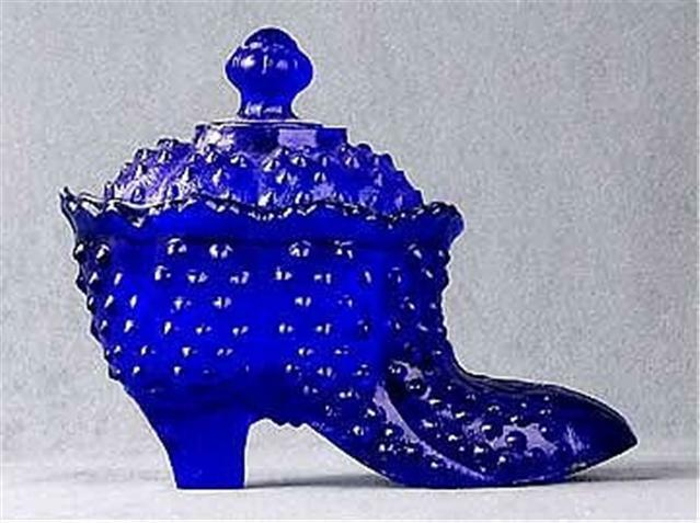 Blue Hobnail Glass Shoe