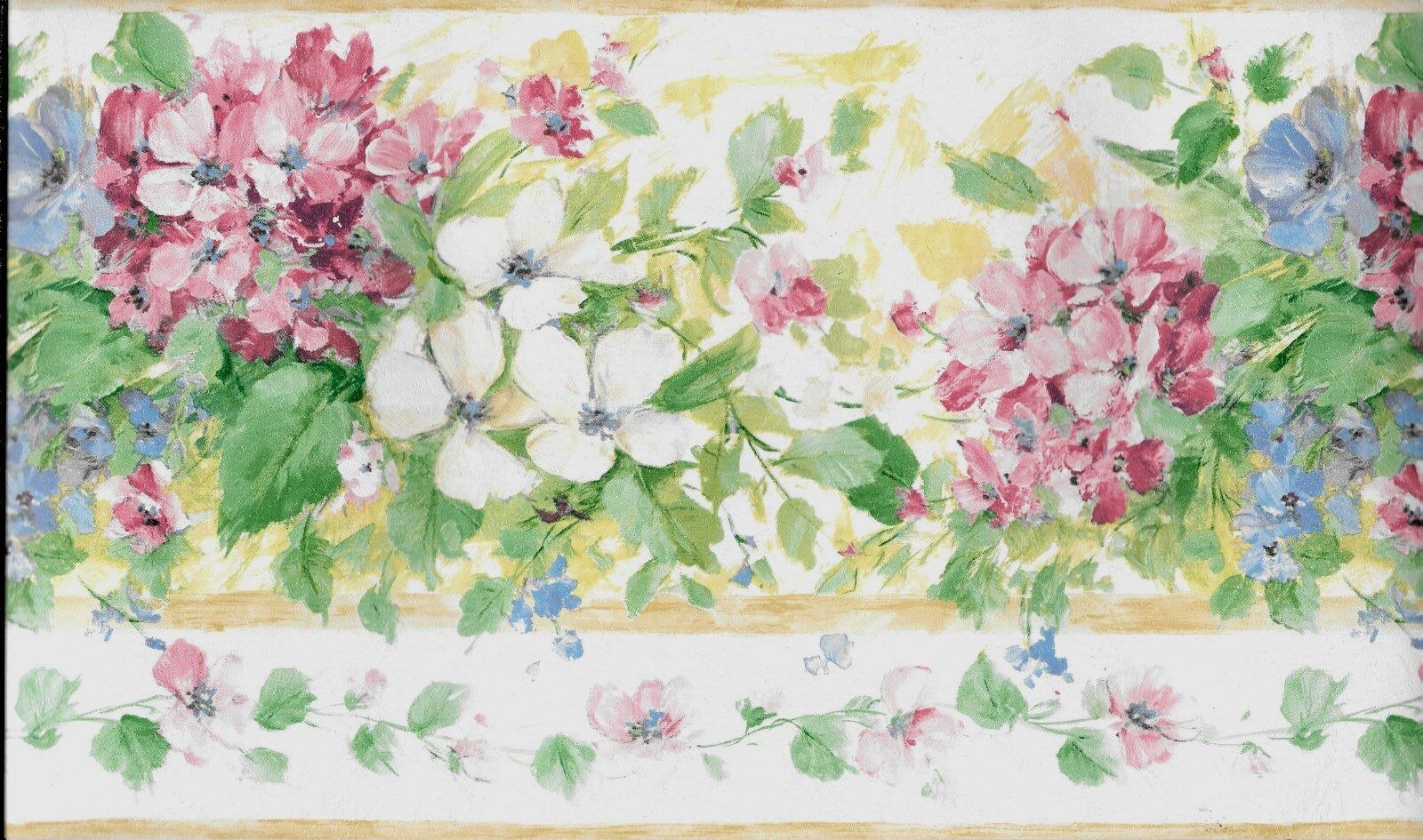 Country Pink White And Blue Flowers Wallpaper Border 400 Picclick