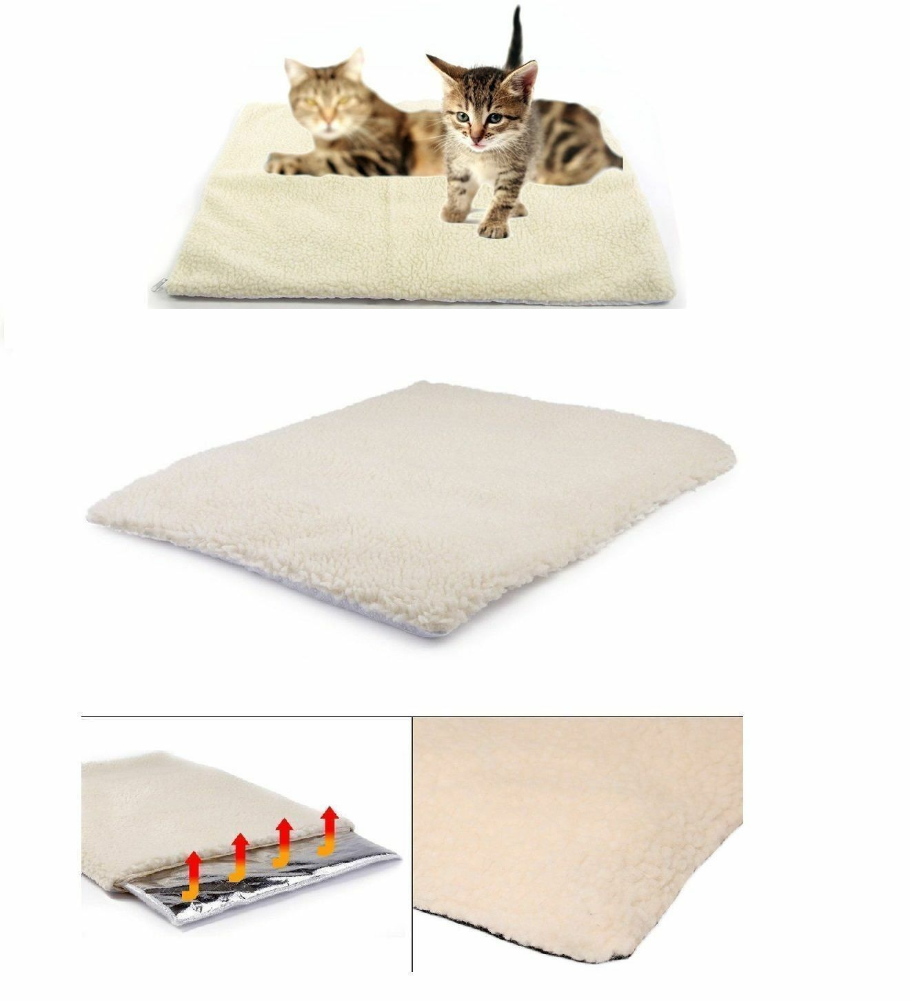 NEW Self Heating Thermal Pet Dog Cat Bed Mattress Washable LARGE SIZE 90x64
